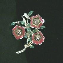"Vintage Coro Floral Bouquet Flowers Brooch - Pin Red Enamel 2 1/2"" Coro ... - $91.92"