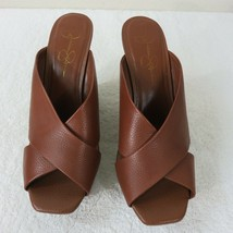 Jessica Simpson JP FROSTEEK Size 9M Leather Wedge Shoes Open Toe Slide On  - $39.55