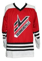 Custom Name # Drummondville Retro Hockey Jersey New Red Drummond #4 Any Size image 3
