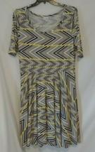 LuLaRoe Nicole Dress Size 3XL Gray Yellow & Purple Striped Full Skirt Sh... - $27.99