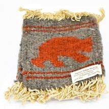 Handmade Zapotec Indian Weaving Hand-Woven Bear Gray & Red Wool Coaster Set of 4