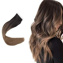 Easyouth 14inch Adhesive Tape in Hair Extensions Balayage Color 2 Dark Brown Fad