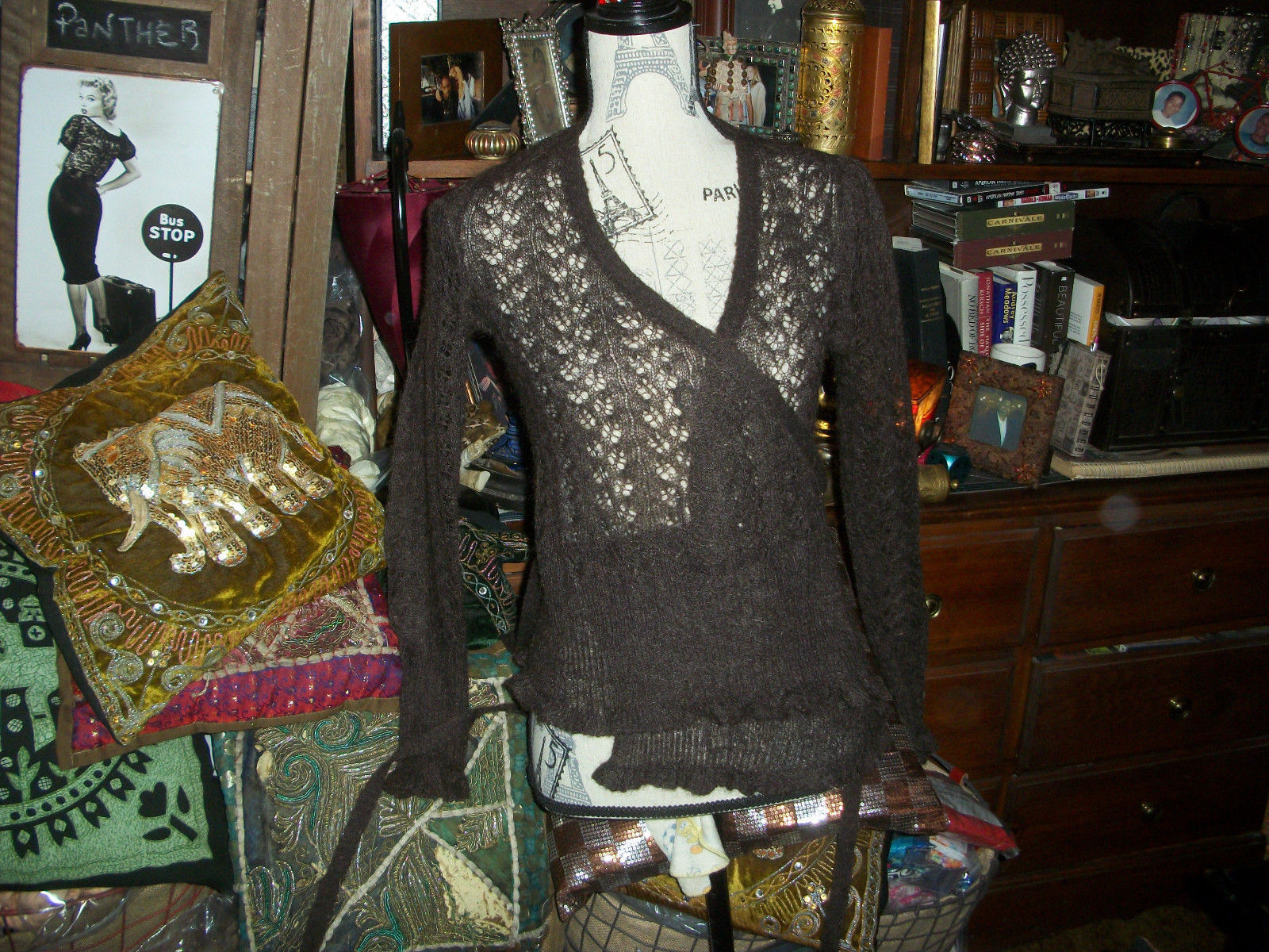 Primary image for TED BAKER London Sassy Chocolate Mohair Blend Cardigan Size 1