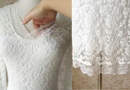Ivory White Long Sleeve Lace Dress Sweet Heart Lace Formal MIDI Dress Wedding  image 5