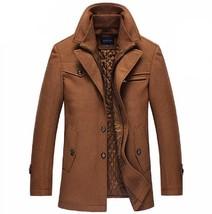Winter Coat Men Long Wool Thick Windbreaker Woolen Overcoat Casaco Mascu... - $84.97