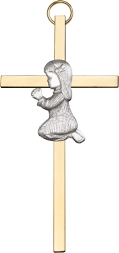 Primary image for Praying Girl - Wall Cross - Antique Silver Plated on Polished Brass Plated