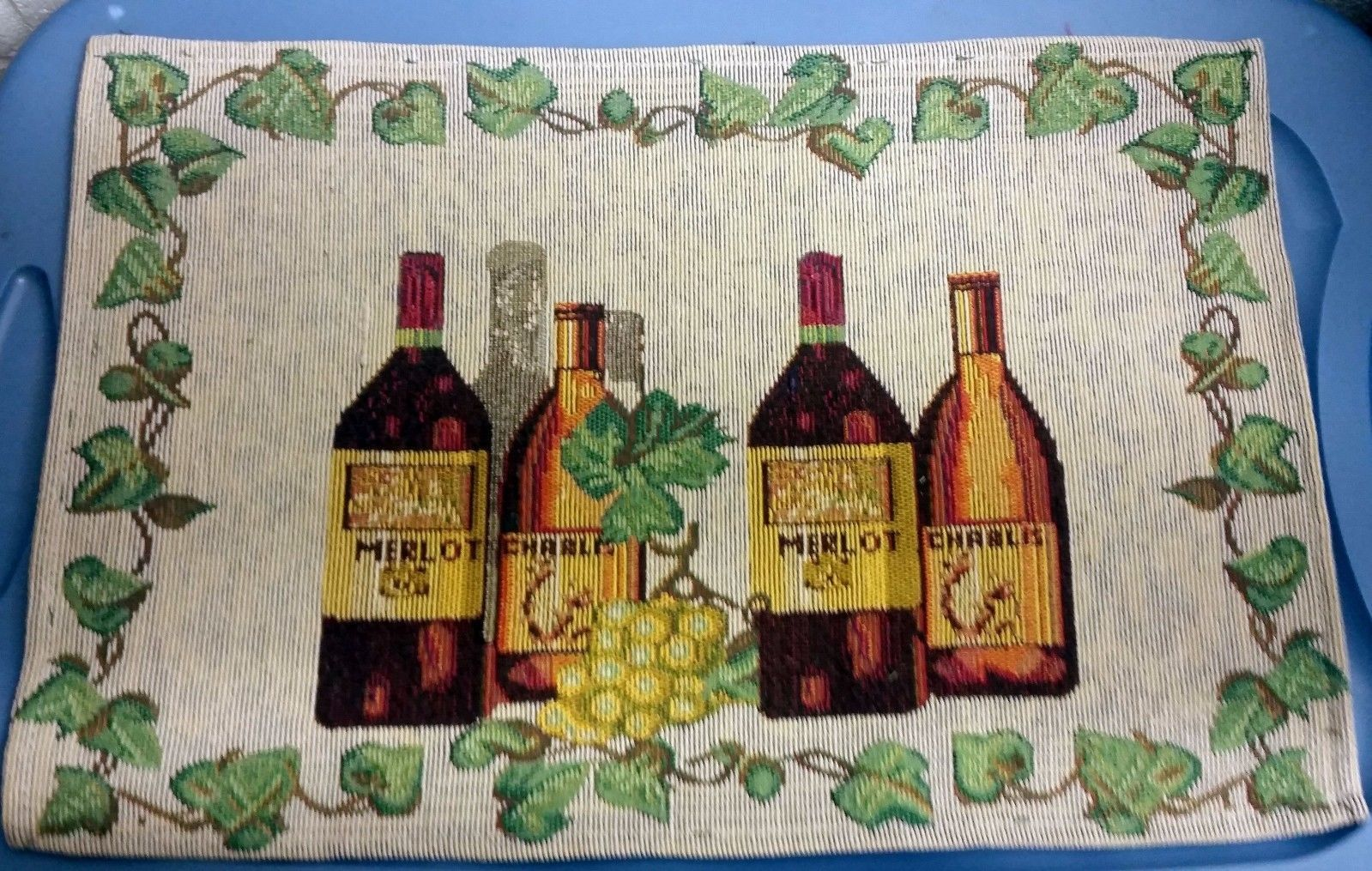 "Primary image for Set of 5 Tapestry Placemats, 13"" x 19"", Wine & Grapes, 4 BOTTLES & GRAPES"