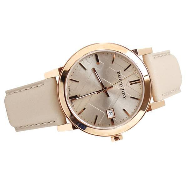 Authentic Burberry Watch BU9014 City Check Stamped Round Dial Nude Leather image 3