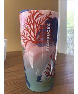 Starbucks 2021 Coral Reef Marine Ocean Teal Pink Double Wall Ceramic Tum... - $51.95