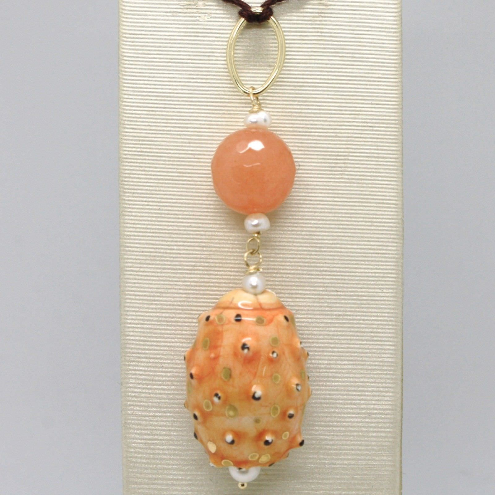 PENDANT YELLOW GOLD 18K 750 QUARTZ PEARLS AND CERAMICS PAINTED MADE IN ITALY