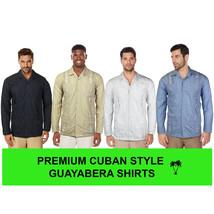 Men's Beach Guayabera Casual Cuban Wedding Button-Up Long Sleeve Dress Shirt