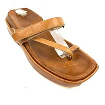 VIA SPIGA Italian Brown Leather Thong Platform Sandals 7.5 Med - $29.69