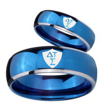 Bride and Groom Greek CTR Dome Blue 2 Tone Tungsten Carbide Engraved Rin... - $69.98