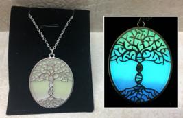 TREE OF LIFE DNA Spiral Helix GLOW in the DARK Silver Pendant Charm Neck... - $15.15