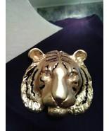 VINTAGE GOLDTONE PIN BROOCH LARGE BOLD TIGER HEAD BLACK ENAMEL STRIPES - $40.00