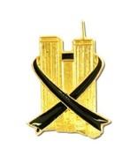Twin Towers NY Hero 9-11 Black Ribbon Gold Plate Lapel Collar Cap Pin New - $12.58