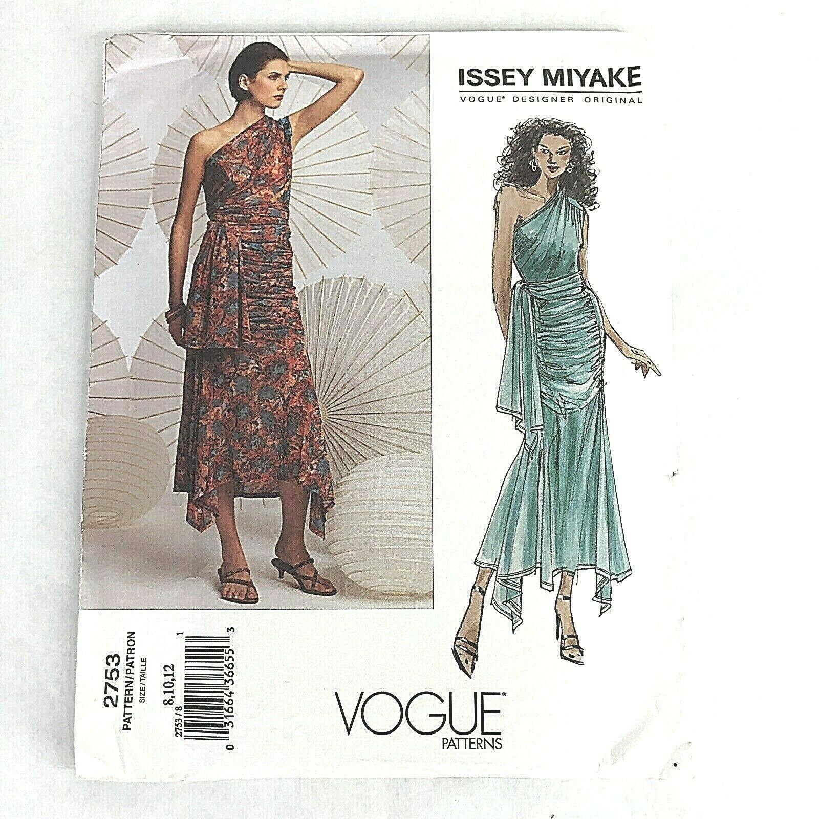 Issey Miyake Designer Original Vogue 2753 Pattern Top Skirt Misses Size 8 10 12 - $41.53