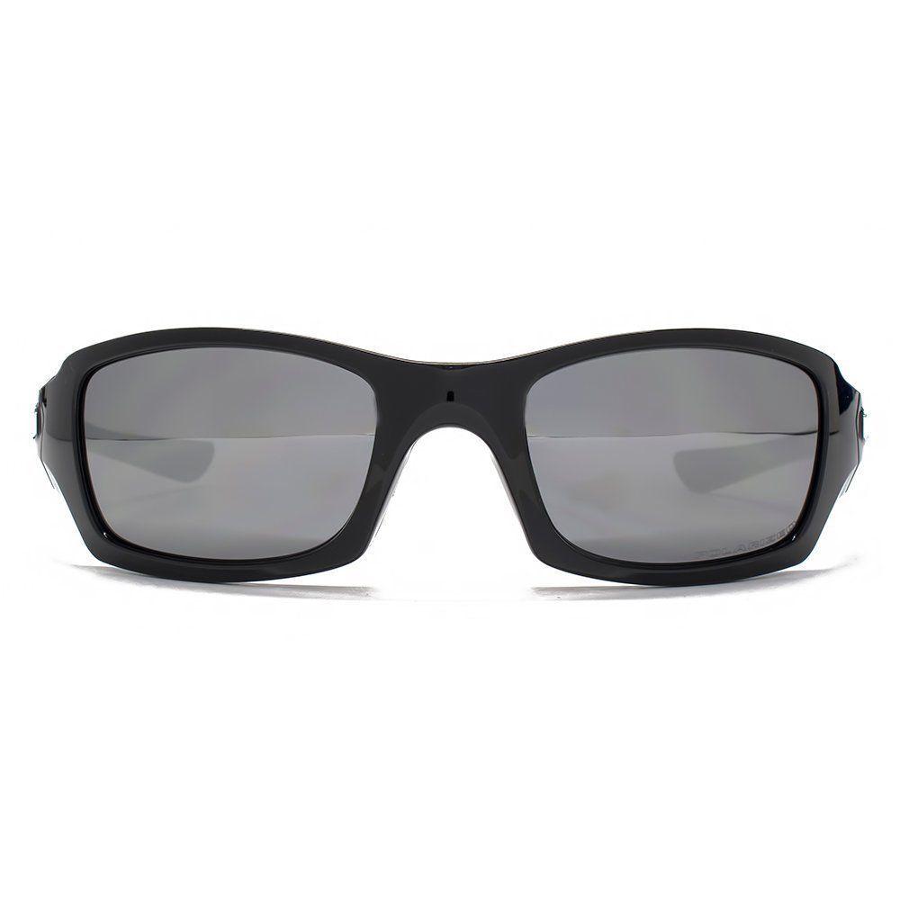 Neuf Oakley Cinq Carré Poli Noir avec / Noir Iridium Polarisé OO9238-06