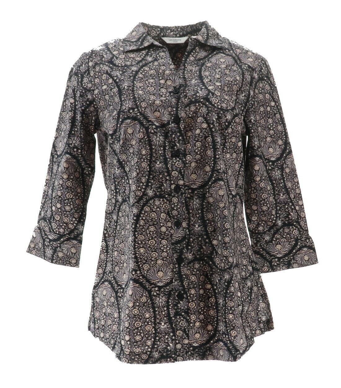 Liz Claiborne NY Paisley Printed Button Front Tunic Black Multi 6 NEW A267257 - $27.70
