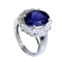 pretty-pretty Iolite Silver Blue Ring indian L-1in US 5,6,7,8 Sz 4.5 - $11.99