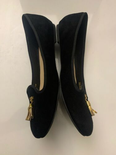 New Cole Haan Women's Black Felt Slip-On Loafers 9.5 B Gold Tassels Shoes image 5