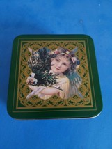 Vtg Enesco Set 6 Drink Coasters Victorian Girl Metal with Cork Backing T... - $18.69