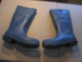 RUBBER BOOTS UNISEX men size 8 or  women size 10 blue steel toe 14 inche... - $15.00