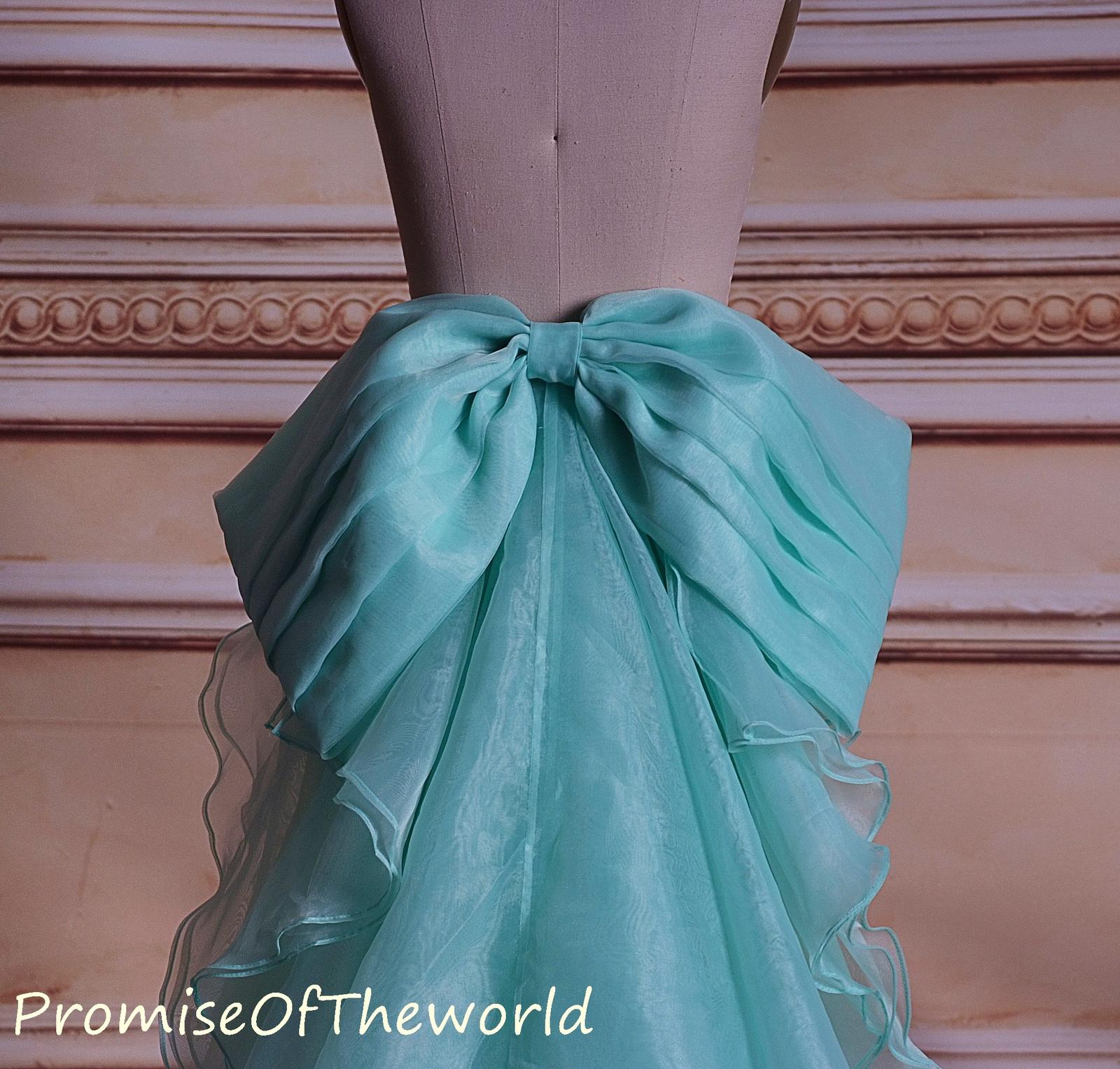 Mint green organza ruffled detachable train organza bridal wedding dress train