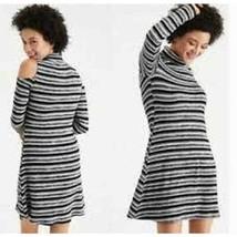 American Eagle Plush Cold Shoulder Turtleneck Black Stripe Mini Dress Me... - $18.00