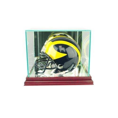 Perfect Cases NFL Mini Football Helmet Glass Display Case, Cherry