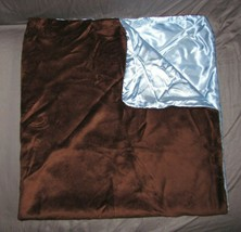 Baby Blanket Chocolate Brown Mink/Minky Blue Satin Solid Plain Boy Soft Silky - $49.49