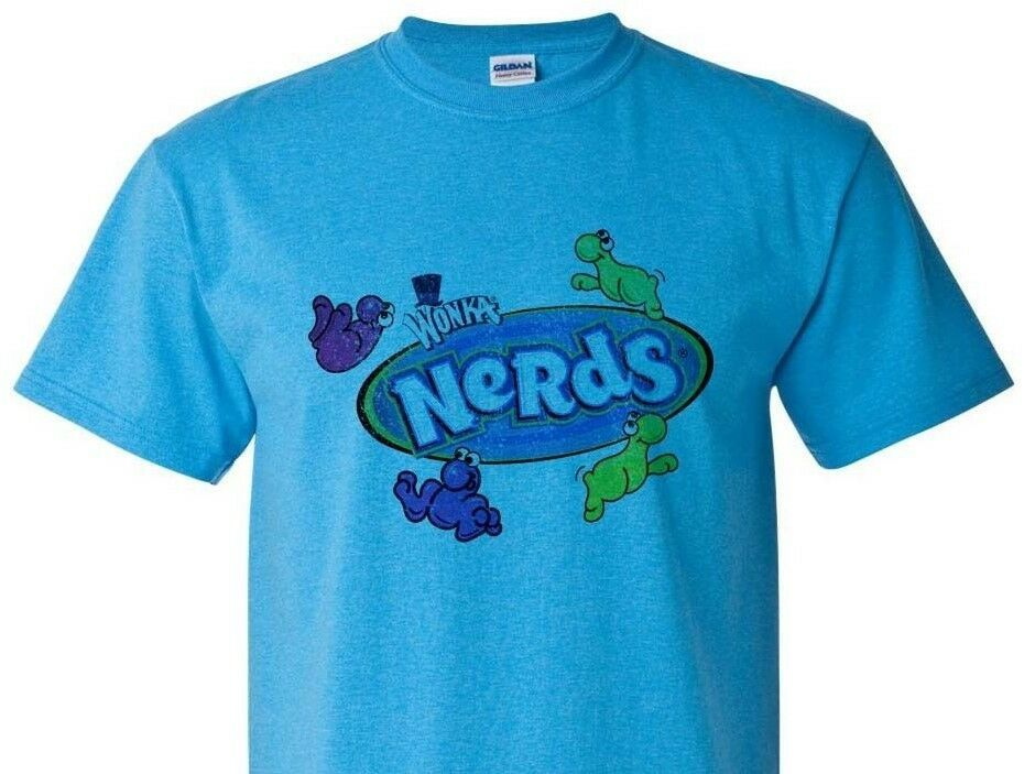 Nerds Distressed T-shirt retro candy vintage style distressed heather blue tee