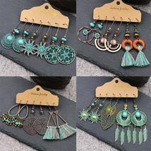 Earrings Girls Bohemian Tassel Drop Earrings Set Vintage Ethnic Leaf Cir... - $38.99+
