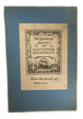 Ex Libris Book Plate Exlibris General Society Mayflower Descendants Pratt