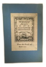Ex Libris Book Plate Exlibris General Society Mayflower Descendants Pratt - $49.49
