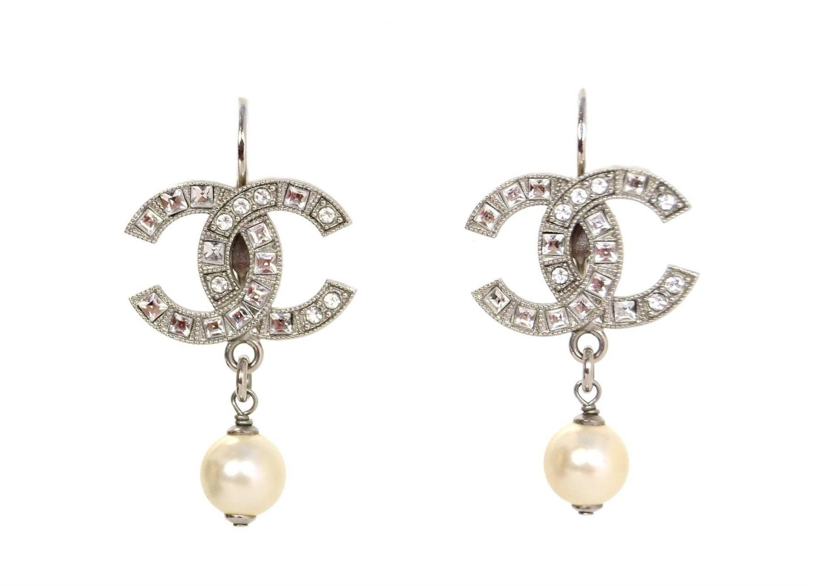 AUTHENTIC CHANEL LARGE CRYSTAL PEARL CC LOGO RHINESTONE EARRINGS GOLD