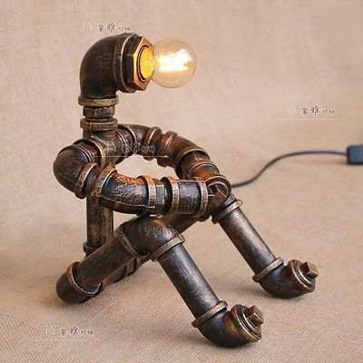 Primary image for Steampunk Robot Desk Table Lamp Pipe Thinker E27 Light Home Reading Lighting