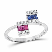 14kt White Gold Womens Baguette Blue Sapphire Modern Fashion Ring 1/2 Cttw - £303.84 GBP