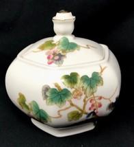 Vintage Japanese or Chinese Porcelain White Gold Bird Sugar Bowl Signed - $69.99