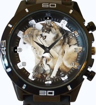 Fighting Wolves Angry Wolf Trendy Sports Style Unisex Gift Watch - $34.99
