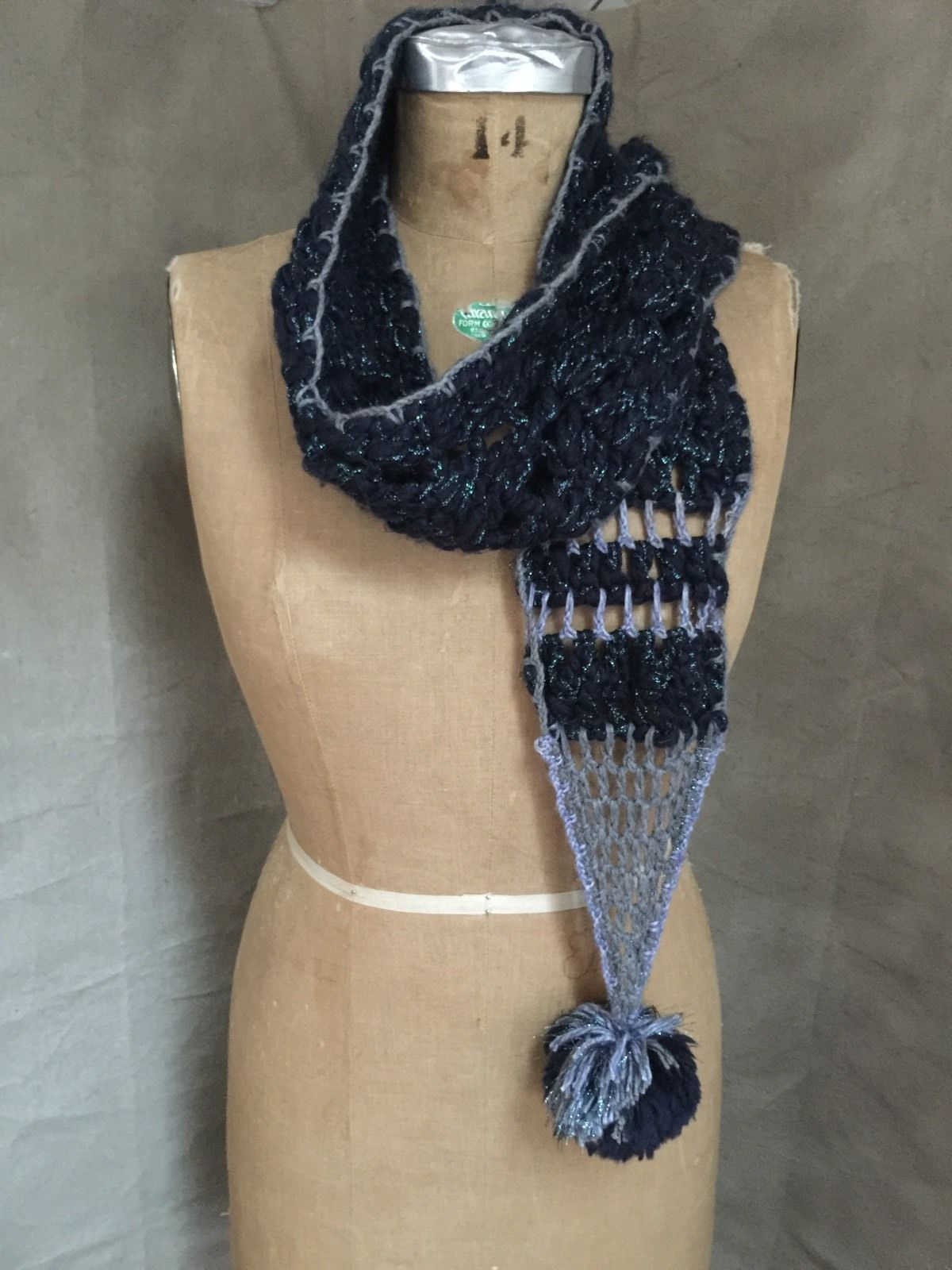 Free People NEW Blue Silver Yarn CROCHET POMPOM Winter Neck Scarf GIFT rn#66170