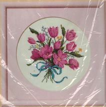 "Vintage 1987 Creative Circle Tulip Bouquet Counted Cross Stitch Kit 9"" x 9"" - $14.99"