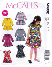 McCall's M6982 Girls Sewing Pattern Childrens Dresses Kids Sizes 6-7-8 Easy Sew - $7.95