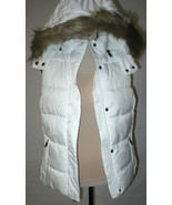 New NWT Womens M Banana Republic Faux Fur Hooded Vest White Removeable S... - $67.60