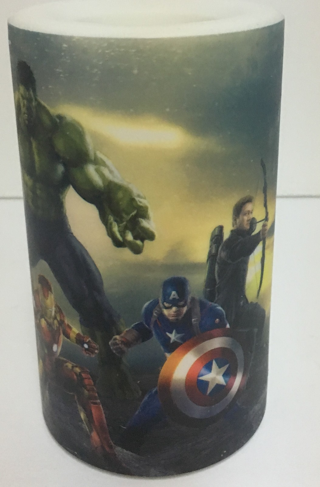 Flameless LED Candle Avengers Flicker Color Changing NIB AA Batteries