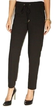 Ellen Tracy Womens Slim leg Drawstring Pants, Black, Small - $56.01