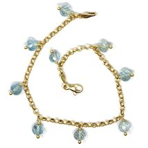 18K YELLOW GOLD BRACELET, OVAL FACETED AQUAMARINE PENDANT, ROLO LINKS 2.5mm image 3
