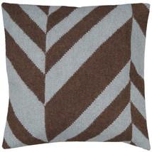 """Diva At Home 22"""" Coffee Bean Brown Foggy Blue Chevron Throw Pillow - $1.678,77 MXN"""