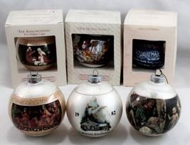 Vintage 1980's Glass Christmas Ornaments Norman Rockwell/Hallmark (Lot of 6) - $16.82