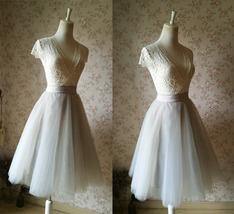 Grey Knee Length Midi Tulle Skirt Gray Full Circle Tulle Skirt Any Size image 4